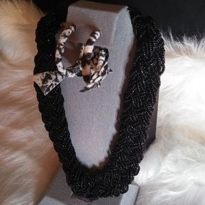Seed bead necklace and matching earrings